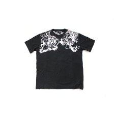 画像2: 絡繰魂(からくりたましい)龍虎刺繍半袖Tシャツ【292038】 (2)