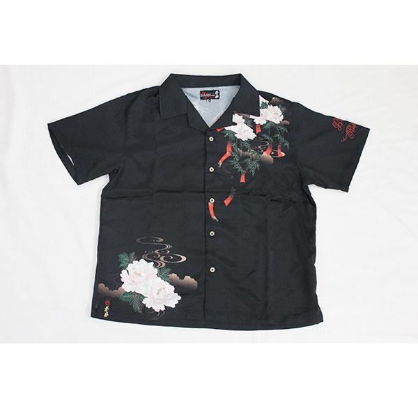 画像1: 抜刀娘 (ばっとうむすめ)結愛:初夏 漆黒アロハシャツ【282808】 (1)