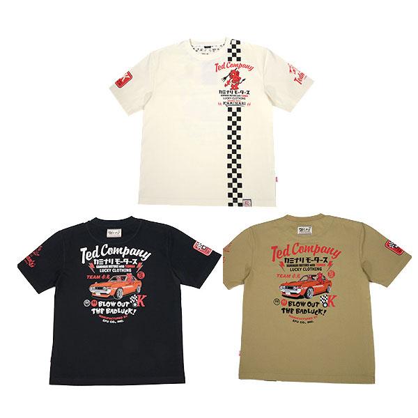 画像1: カミナリ カミナリワークス×テッドマンTシャツTTDKMTEE-07『赤鬼 vs 達磨』 (1)