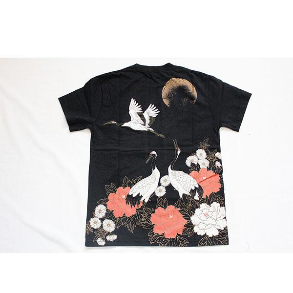 画像1: 【華鳥風月】華鳥風月×いまは昔限定コラボ 月夜に舞う鶴と牡丹Tシャツ【882102 】 (1)