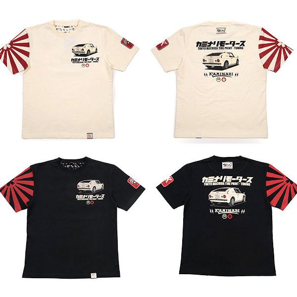 画像1: カミナリ カミナリワークスTシャツKMT-192『桜旭日旗』 (1)
