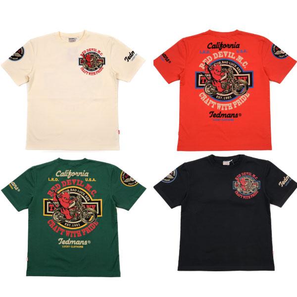 画像1: テッドマン半袖抜染TシャツTDSS-492『RED DEVIL M.C』 (1)