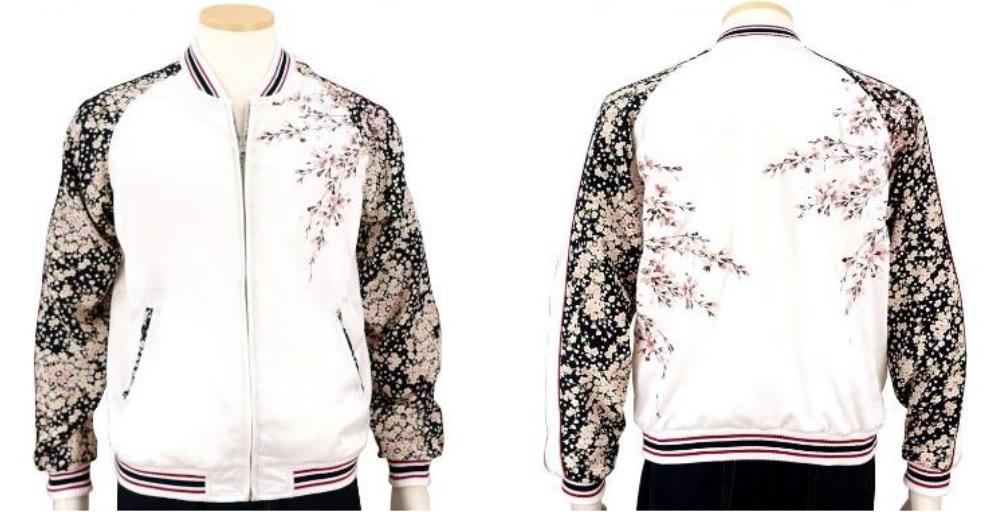 画像1: ジャパンネスク 桜刺繍ちりめん袖スカジャン 3RSJ-301 (1)