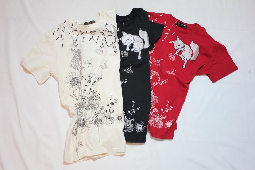 画像1: 【今昔】狐と彼岸花半袖Tシャツ【KJY-98002】 (1)